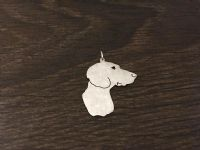 bavarian mountain hound  dog pendant sterling silver handmade by saw piercing